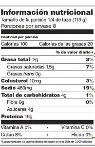 etiqueta nutrimental
